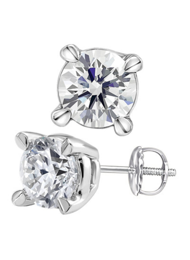 Boucles d'oreilles or blanc 14k à diamants 0.10 CT