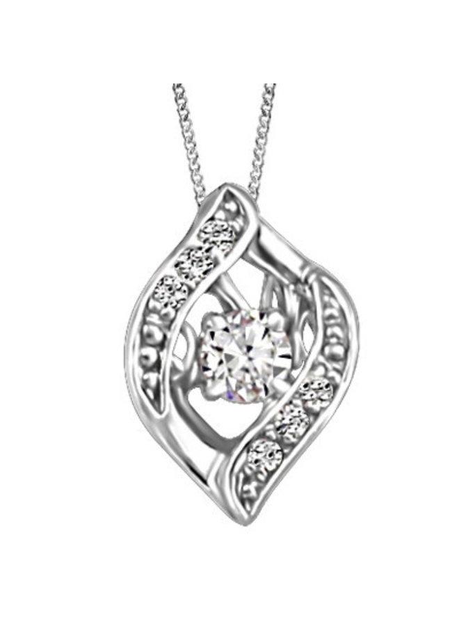 Chaine et pendentif 10k blanc a diamant 6=0.02ct 1x0.06ct I GH canadien