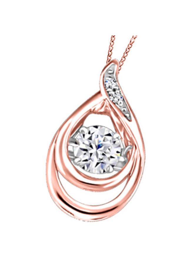 Chaine et pendentif 10k or rose a diamant  2=0,01ct