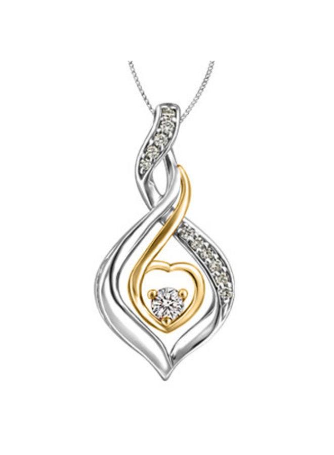 Chaine et pendentif 10k 2 tons a diamants 1x0.069ct