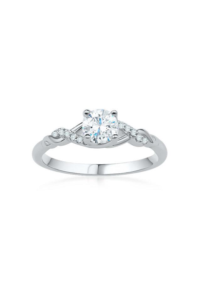 Bague solitaire or blanc 14k à diamants