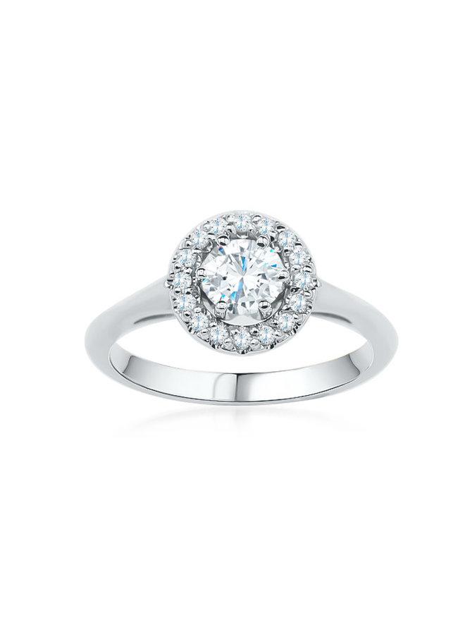 Bague 10k diamant 1x0.52ct VS2 couleur GH 16x0.01 I GH