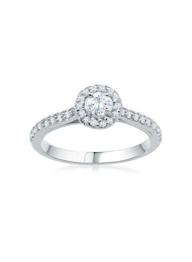 Bague 10k diamant 1x0.25ct SI GH 14x0.005 18x0.0075ct I GH