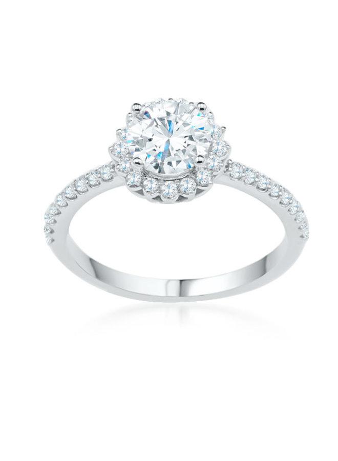 Bague 14k blanc diamant halo  1x1.03ct SI1 couleur GH 26=0.33ct SI GH