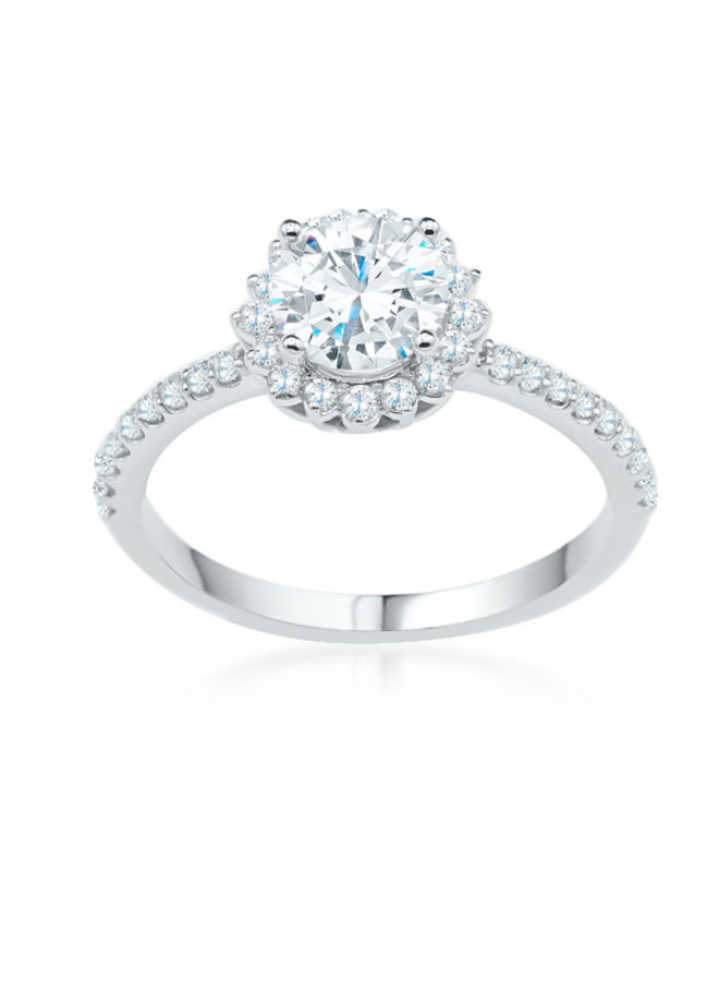Bague 14k blanc diamant halo
