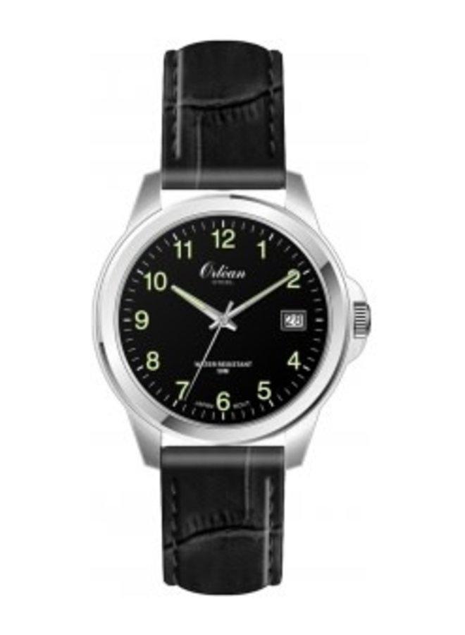 Orlean bracelet cuir noir acier date