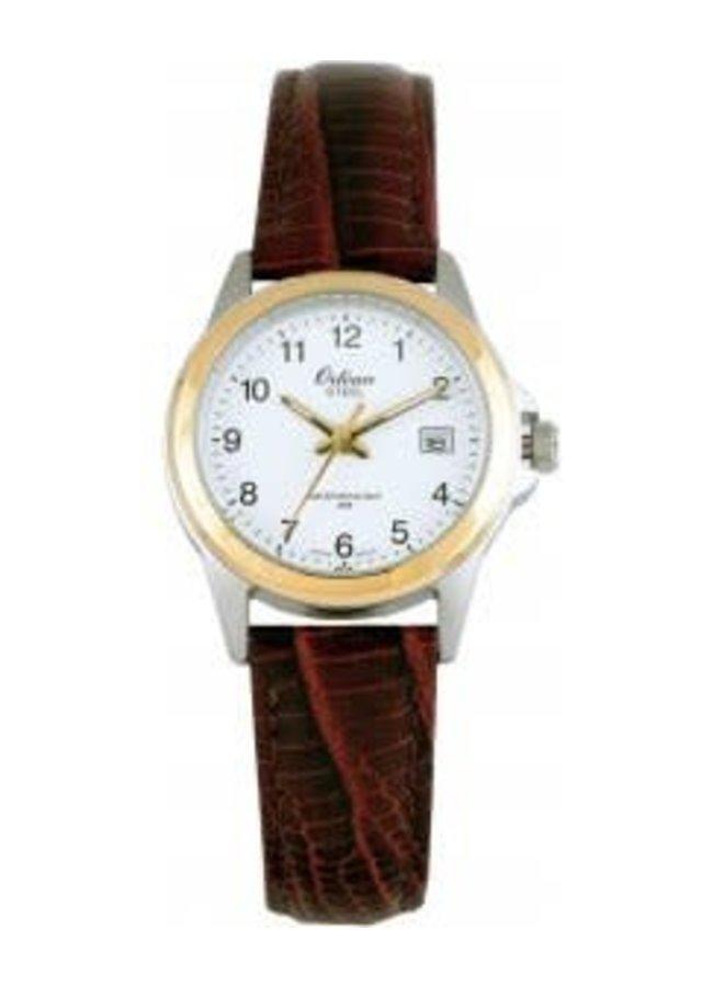 Orlean bracelet cuir brun 2 tons 26mm