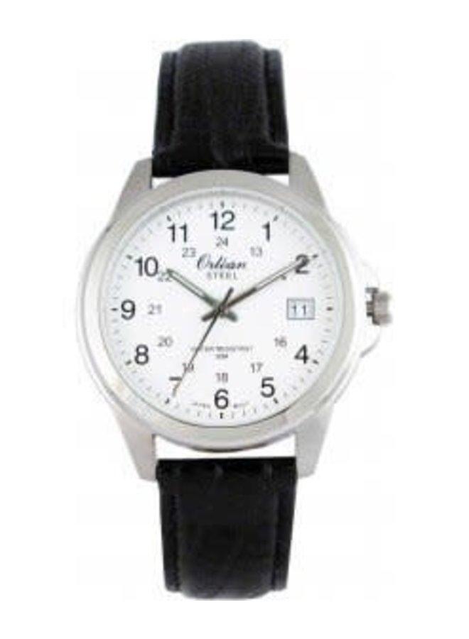 Orléan bracelet cuir noir acier date 40mm