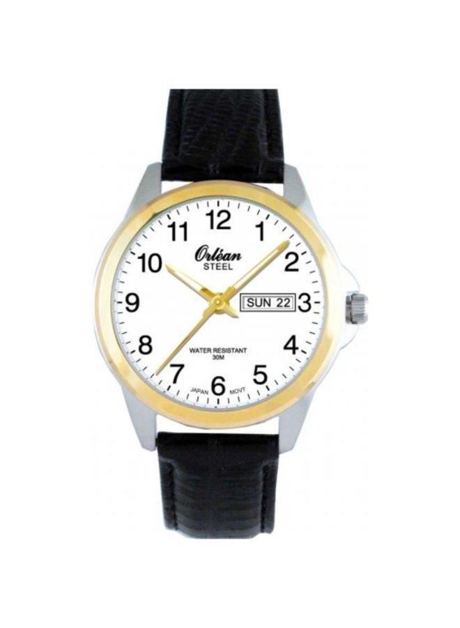 Orléan bracelet cuir noir 2 tons jour date 40mm