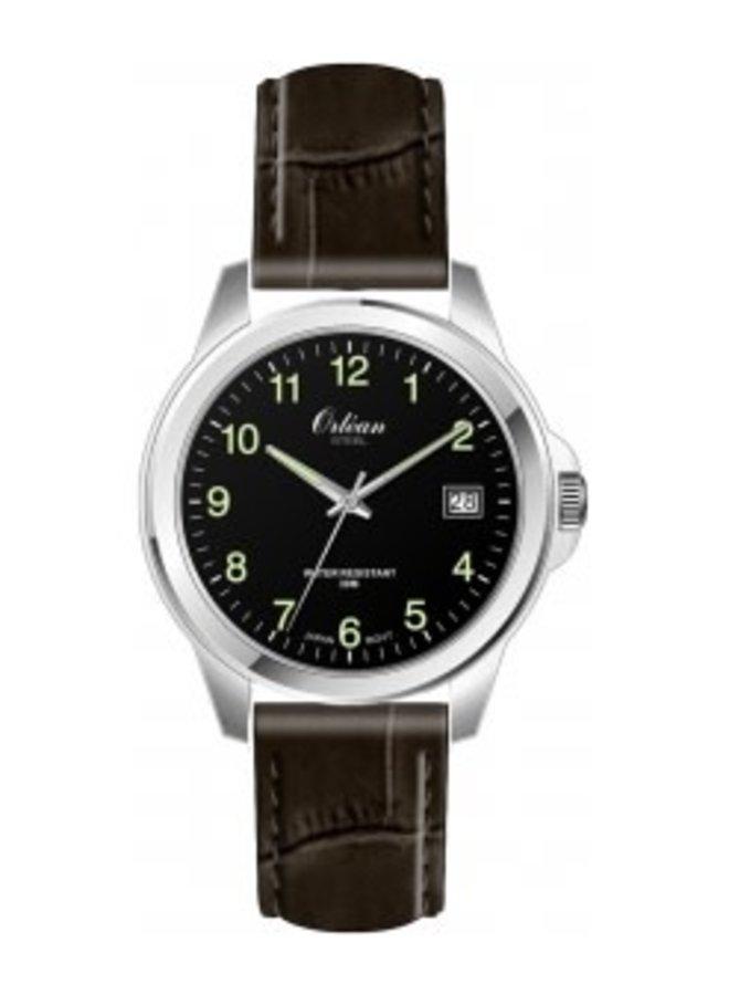 Orlean bracelet cuir brun acier date 40mm