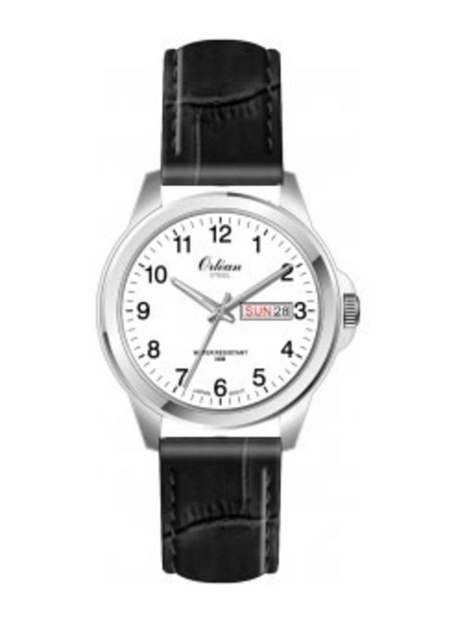 Orlean bracelet cuir noir acier jour date 40mm