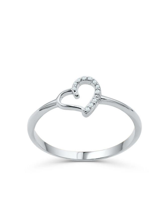 Bague 10k blanc diamant coeur