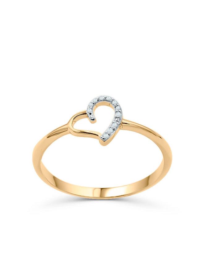 Bague 10k jaune coeur diamant