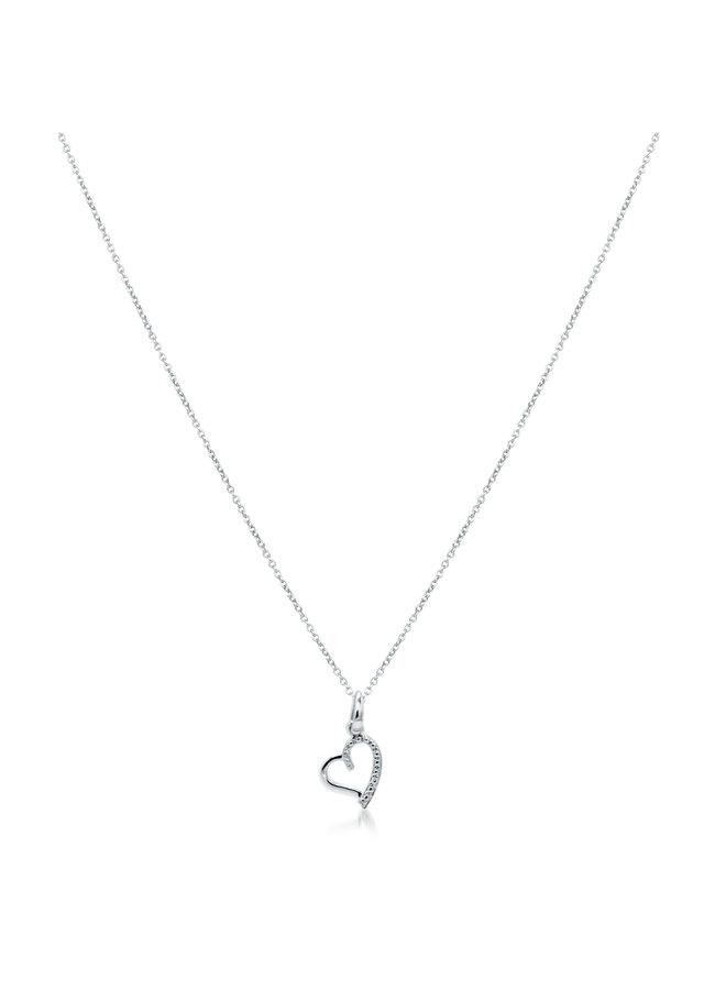 Chaîne et pendentif 10k blanc coeur diamant