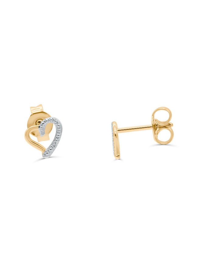 Boucle d'oreille 10k jaune coeur a diamant