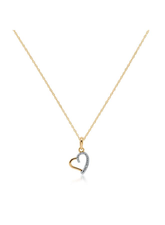 Chaîne et pendentif 10k jaune coeur a diamant