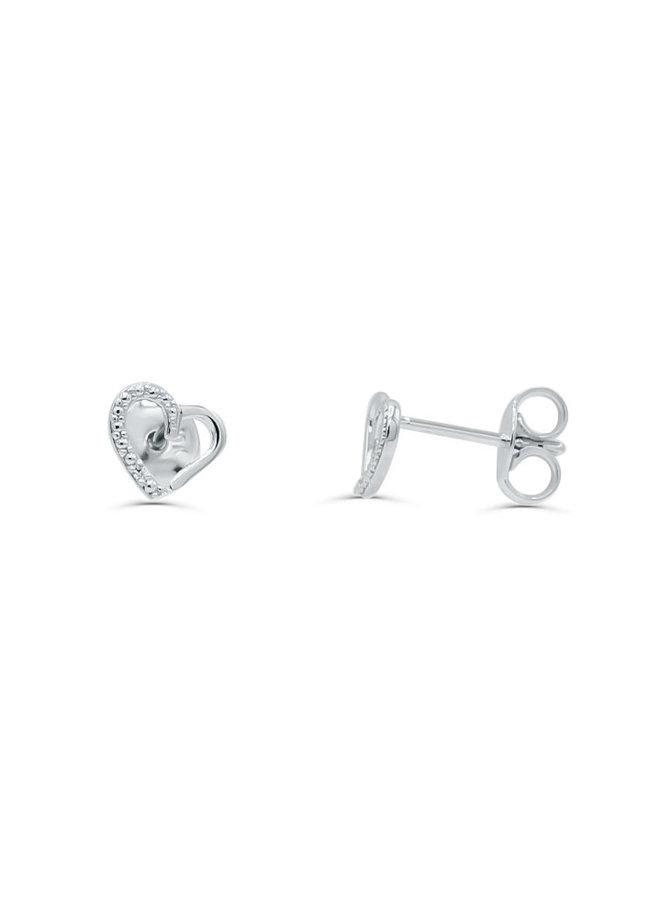 Boucle d'oreille 10k blanc coeur diamant