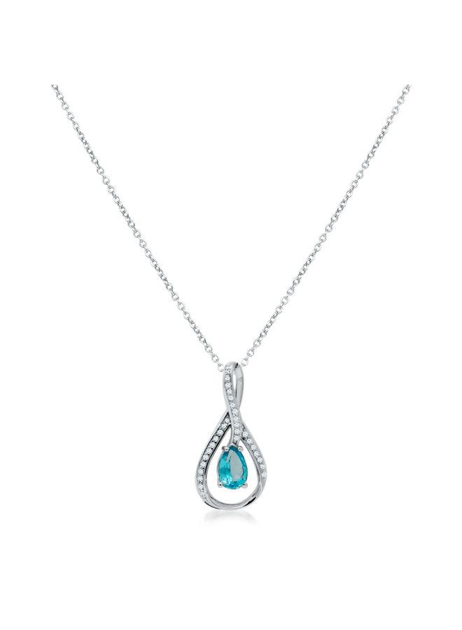 Chaîne et pendentif 10k blanc topaze bleu poire diamant