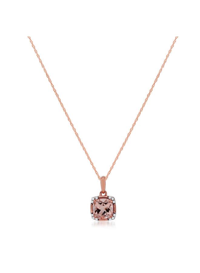 Chaîne et pendentif 10k rose diamant Morganite