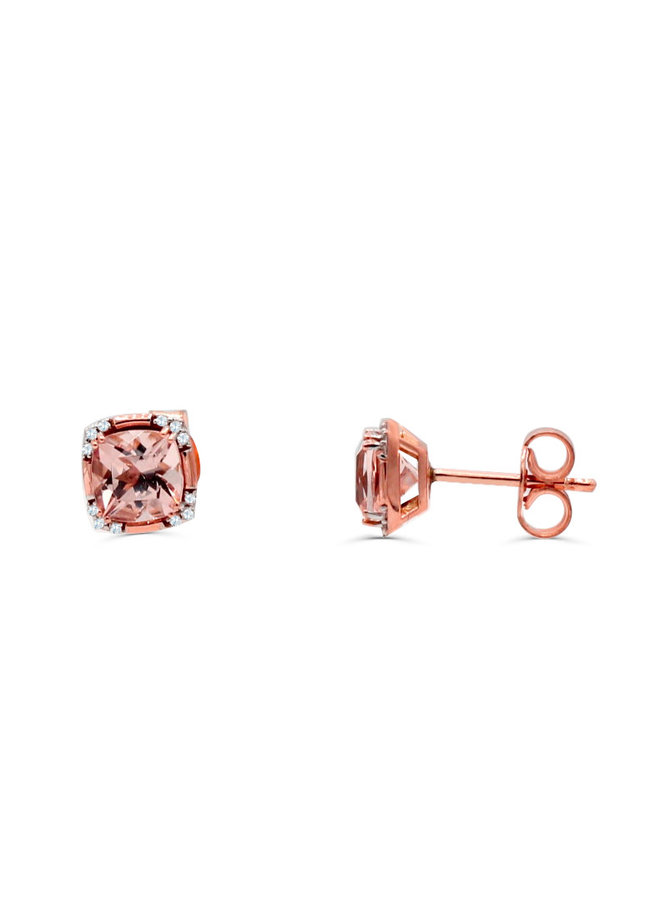 Boucle d'oreille 10k rose diamant 0.06ct Morganite