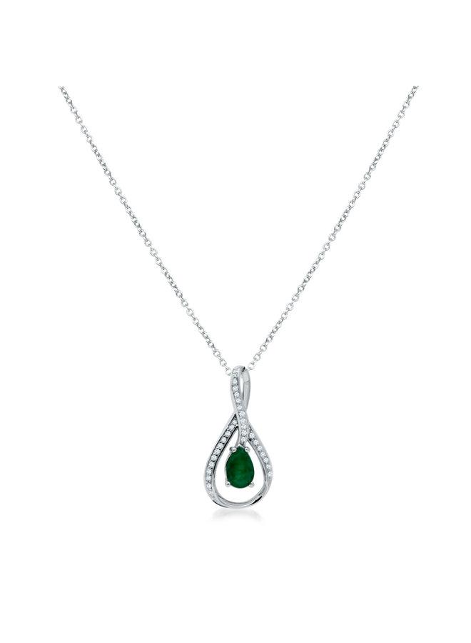 Chaîne et pendentif 10k blanc diamant 0.02ct Emeraude