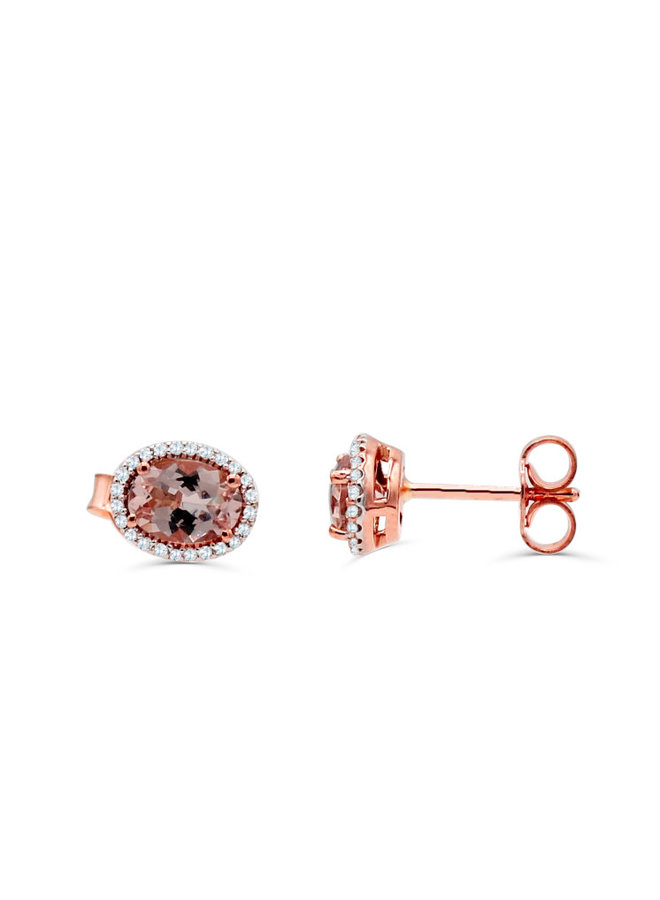 Boucle d'oreille 10k rose diamant 0.14ct morganite
