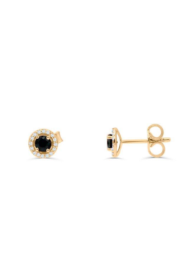 Boucle d'oreille 10k jaune diamant 0.11ct saphir