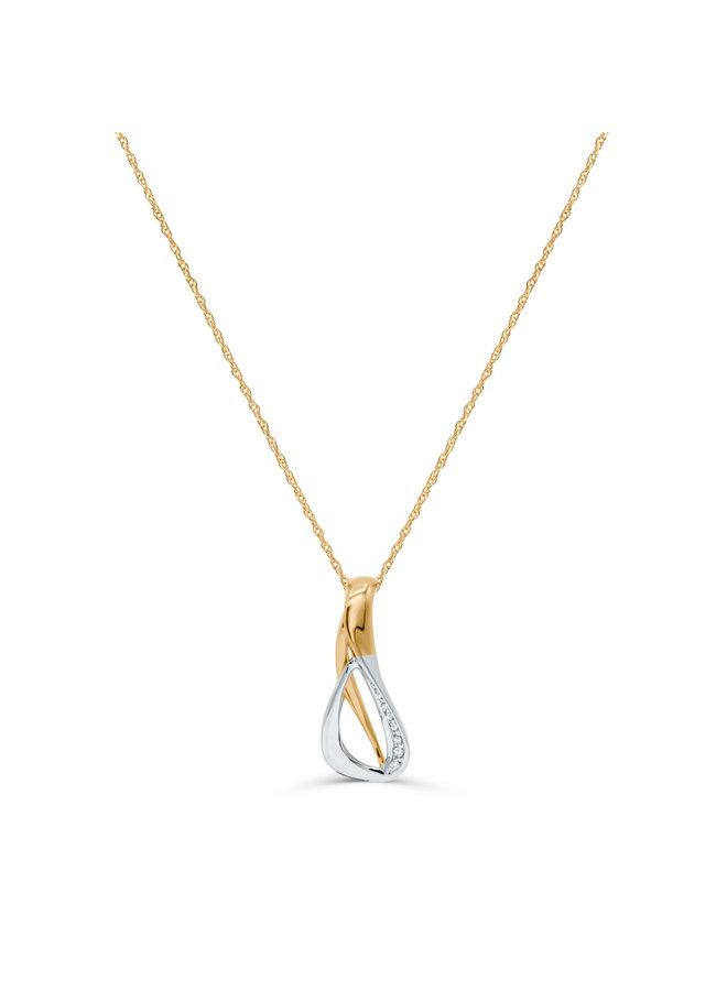Chaîne et pendentif 10k 2 tons diamant 0.03ct