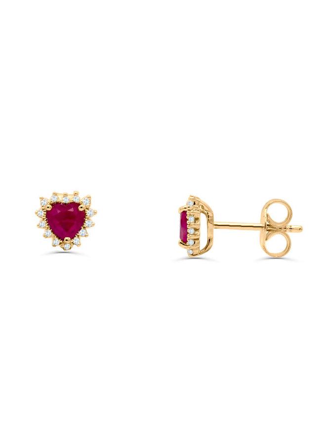 Boucle d'oreille 10k jaune diamant 0.08ct rubis