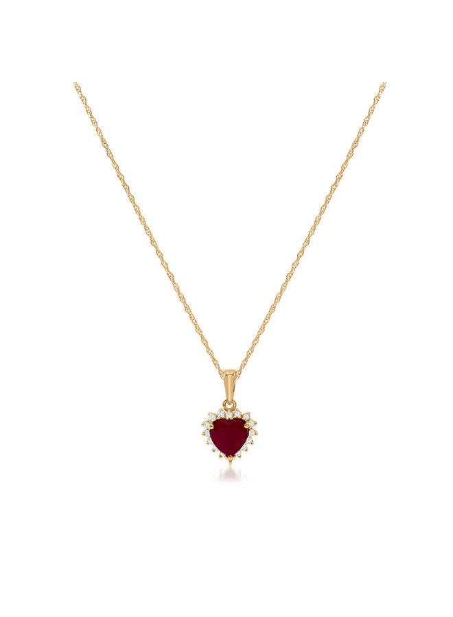 Chaîne et pendentif 10k jaune diamant 0.05ct rubis