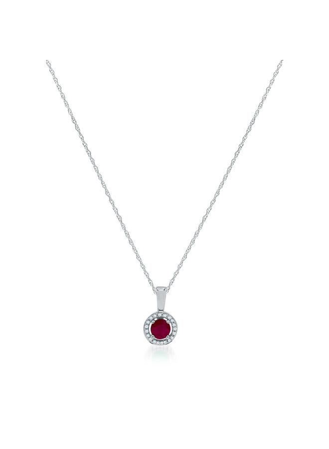 Pendentif 10k blanc diamant 0.06ct Rubis