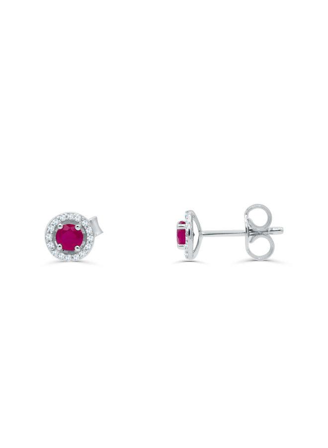 Boucle d'oreille 10k blanc diamant 0.11ct Rubis
