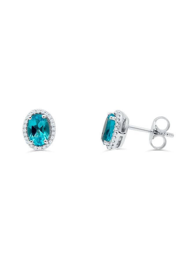 Boucle d'oreille 10k diamant 0.14ct topaze bleu
