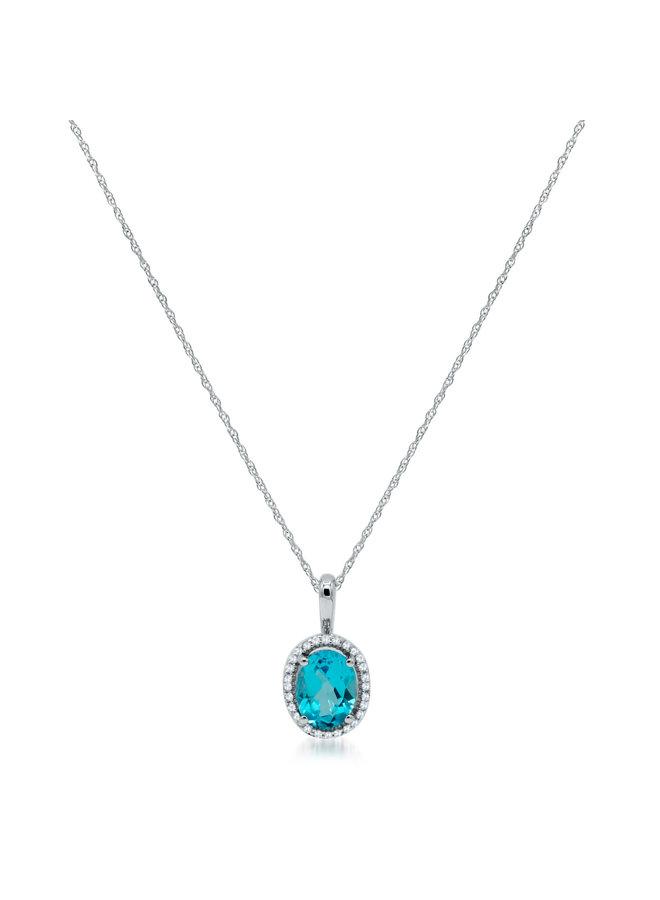 Chaîne et pendentif 10k blanc diamant 0.08ct topaze bleu