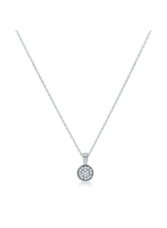 Chaîne et pendentif 10k blanc diamant 0.10ct I GH