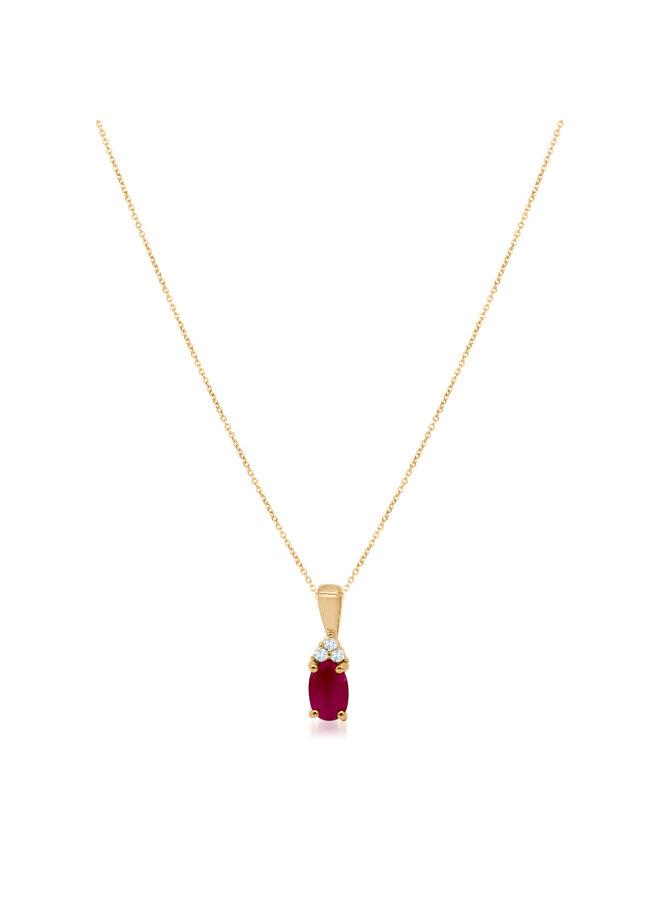Chaîne et pendentif 10k jaune diamant 0.03ct rubis  4x6mm