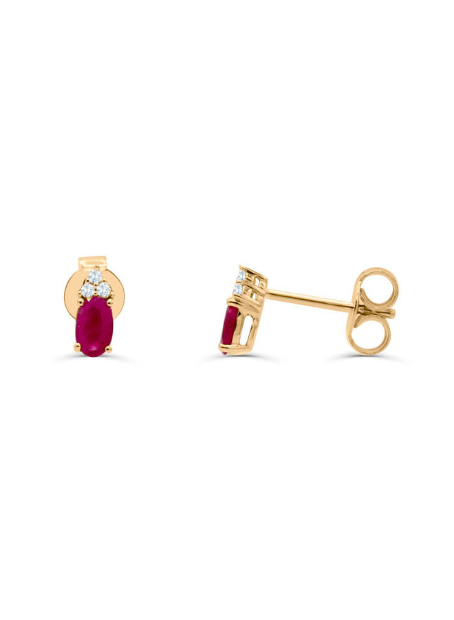 Boucle d'oreille 10k jaune diamant 0.05ct rubis