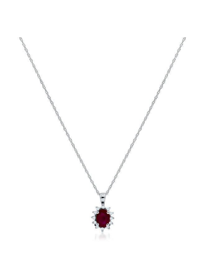 Chaîne et pendentif 10k blanc diamant 0.06ct rubis 4x6mm