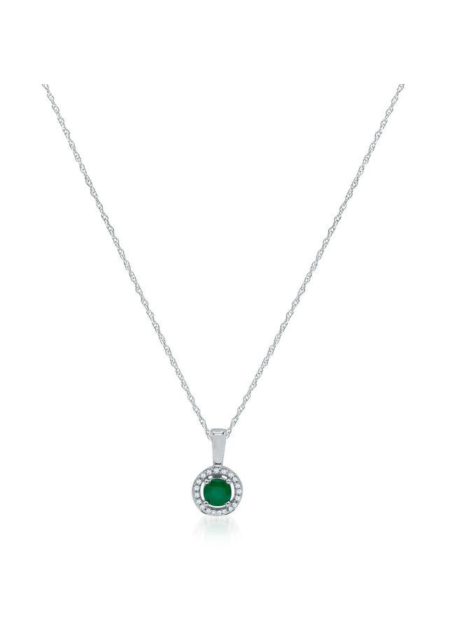 Chaîne et pendentif 10k blanc diamant 0.06ct émeraude