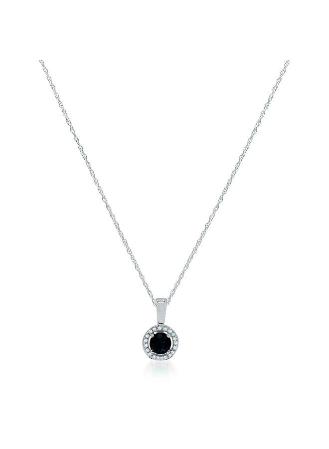 Chaîne et pendentif 10k blanc diamant 0.06ct saphir