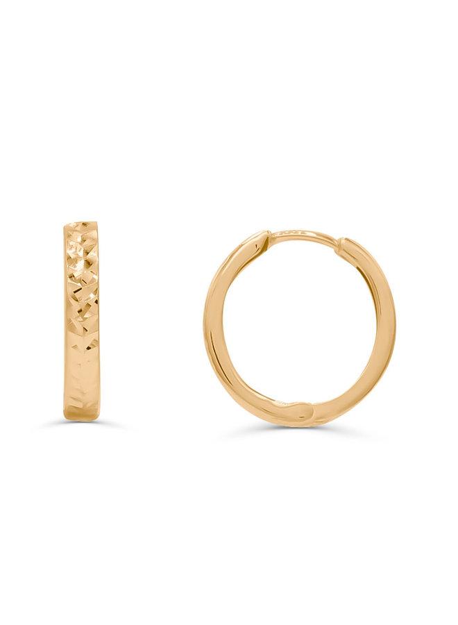 Boucles d'oreilles anneaux 10k jaune 17mm coupe diamant