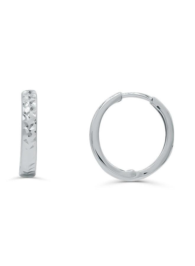 Boucles d'oreilles anneaux 10k blanc 17mm coupe diamant