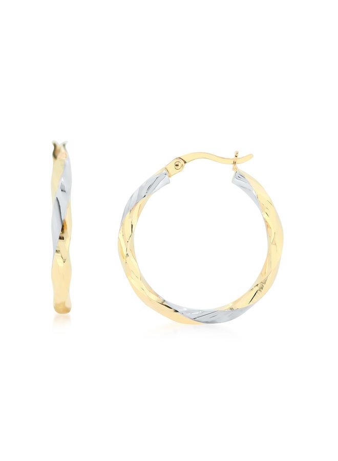Boucle d'oreille 10k jaune anneau coupe diamant 15mm