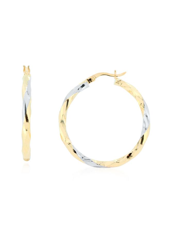 Boucles d'oreilles 10k jaune anneaux coupe diamant 25mm
