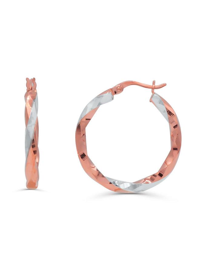 Boucles d'oreilles 10k rose anneaux coupe diamant 25mm