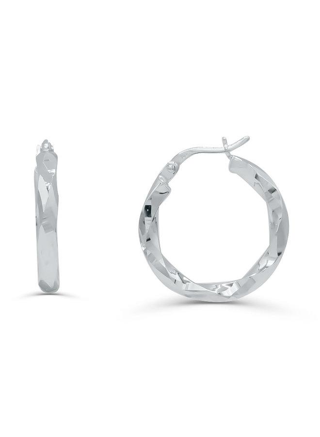 Boucles d'oreilles 10k blanc anneaux coupe diamant 30mm