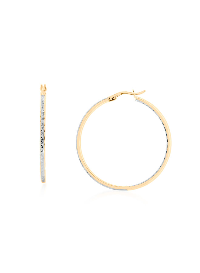Boucles d'oreilles anneaux 10k jaune coupe diamant 60mm