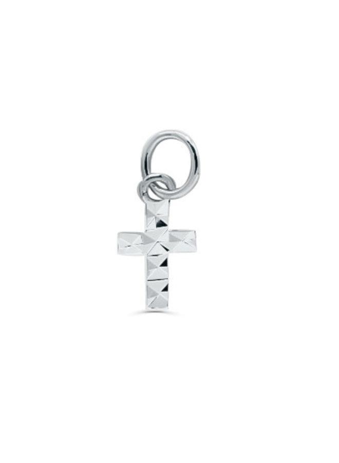 Pendentif 10k blanc croix coupe diamant
