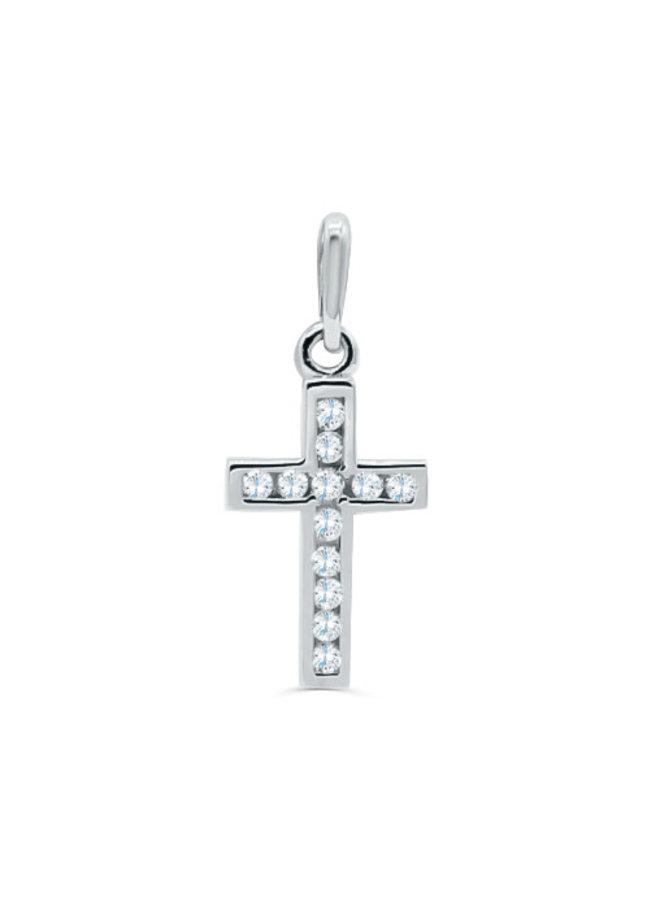 Pendentif 10k blanc croix zircon