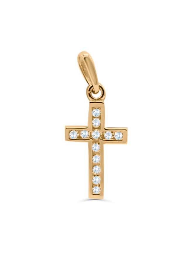 Pendentif  croix 10k jaune zircons